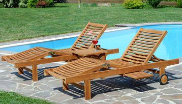 2x Hochwertige TEAK Sonnenliege Gartenliege Strandliege Liegestuhl Holzliege Holz sehr robust Modell: COZY+ 1x Beistelltisch 45x45cm – Bild 6