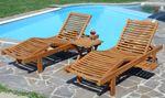 2x Hochwertige TEAK Sonnenliege Gartenliege Strandliege Liegestuhl Holzliege Holz sehr robust Modell: COZY+ 1x Beistelltisch 45x45cm - Bild 5