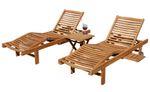 2x Hochwertige TEAK Sonnenliege Gartenliege Strandliege Liegestuhl Holzliege Holz sehr robust Modell: COZY+ 1x Beistelltisch 45x45cm - Bild 1