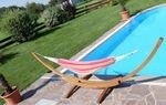 415cm XXL Luxus Hängemattengestell PANAMA-MONA aus Holz Lärche coffee-braun mit Tuch Hängematte - Bild 8