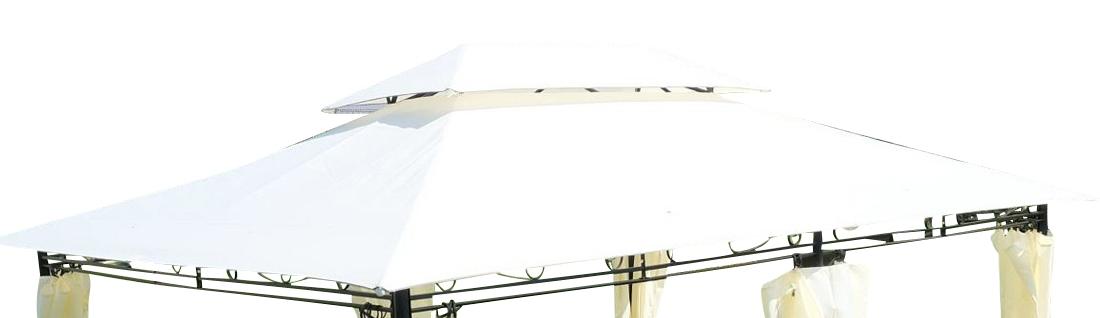 Eleganter Gartenpavillon 3x4 Meter,  Dach 100% WASSERDICHT UV30+, 12m², mit 6 Vorhängen, rechteckig Modell: ELBA 3x4