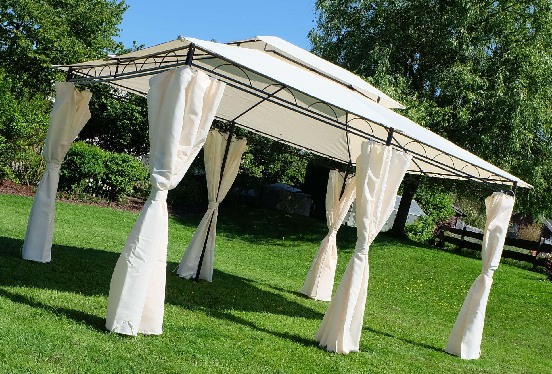 eleganter gartenpavillon pavillon 3x4 meter 12m dach 100 wasserdicht uv30 mit 6 vorh ngen. Black Bedroom Furniture Sets. Home Design Ideas