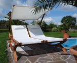 Doppel - Sonnenliege TULUM extrabreit für 2 Personen mit verstellbarem Dach aus Holz Lärche - Bild 9