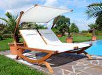 Doppel - Sonnenliege TULUM extrabreit für 2 Personen mit verstellbarem Dach aus Holz Lärche - Bild 5