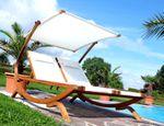 Doppel - Sonnenliege TULUM extrabreit für 2 Personen mit verstellbarem Dach aus Holz Lärche - Bild 6