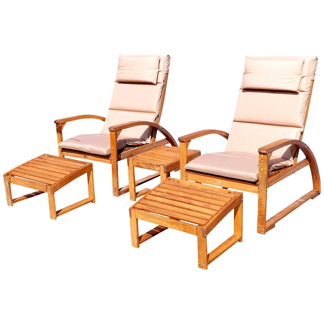 set 2x gro er deckchair sonnensessel barbuda mit kopfpolster extrem robust inkl fu auflage und. Black Bedroom Furniture Sets. Home Design Ideas
