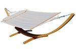 410cm XXL Hängemattengestell NATUR-FILLED EDITION CREME aus Holz Lärche mit Stab Hängematte (GEPOLSTERT) und Kissen