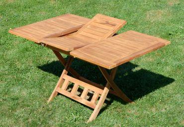 TEAK Ausziehtisch 100-140 x 80cm klappbar Holztisch Klapptisch Gartentisch Tisch aus Teakholz JAV-AVES-AUSZIEH-100/140 – Bild 6