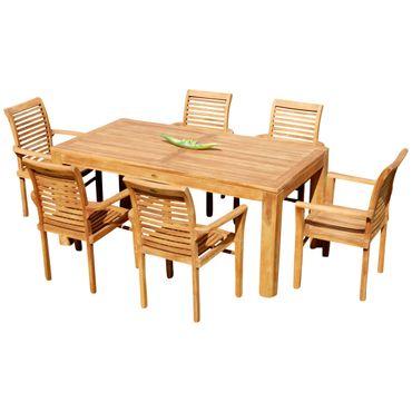 TEAK SET: Gartengarnitur Bigfuss Tisch 180x90 cm + 6 Sessel Holz JAV-ALPEN