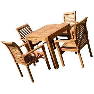 TEAK SET: Gartengarnitur Bigfuss Tisch 80x80 cm + 4 Sessel ALPEN Holz JAV