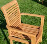 TEAK SET: Gartengarnitur Bigfuss Tisch 80x80 cm + 2 Sessel ALPEN Holz JAV - Bild 7