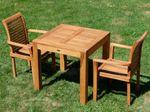 TEAK SET: Gartengarnitur Bigfuss Tisch 80x80 cm + 2 Sessel ALPEN Holz JAV - Bild 9