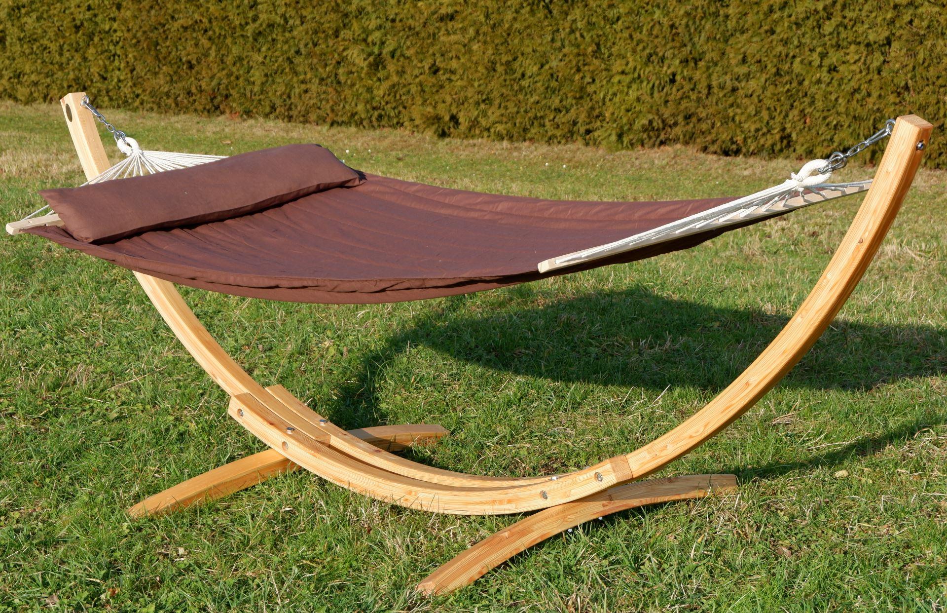320cm h ngemattengestell xl limited edition aus holz l rche natur mit stab h ngematte braun. Black Bedroom Furniture Sets. Home Design Ideas