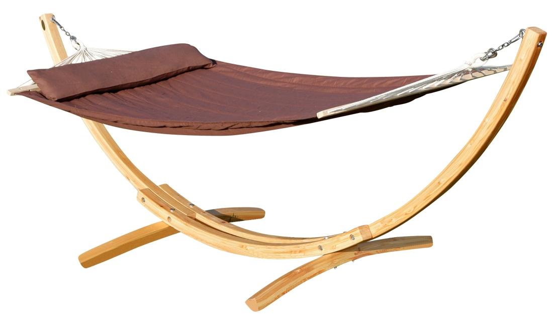Design Hollywoodschaukel Gestell  KUREDO / ARUBA  aus Holz Lärche mit Dach
