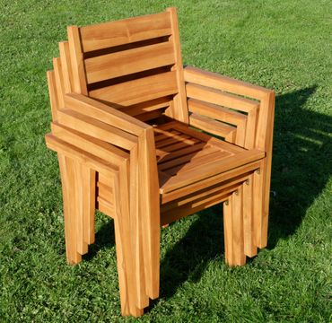 ECHT TEAK Design Gartenstuhl Stapelstuhl JAV-KINGSTON stabelbar sehr robust  – Bild 4