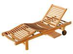 ECHT TEAK Sonnenliege Holzliege vielfach verstellbar mit Tisch sehr robust Modell: JAV-COZY - Bild 1
