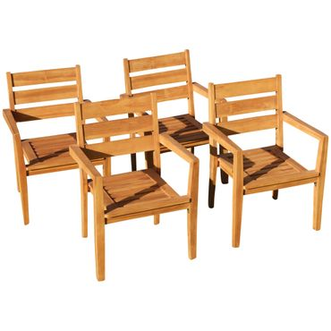 4Stk ECHT TEAK Design Gartenstuhl Stapelstuhl JAV-KINGSTON stapelbar sehr robust