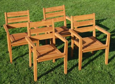 4Stk ECHT TEAK Design Gartenstuhl Stapelstuhl JAV-KINGSTON stapelbar sehr robust  – Bild 8