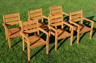 6Stk ECHT TEAK Design Gartenstuhl Stapelstuhl JAV-KINGSTON stapelbar sehr robust – Bild 8
