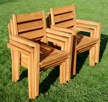 6Stk ECHT TEAK Design Gartenstuhl Stapelstuhl JAV-KINGSTON stapelbar sehr robust – Bild 3