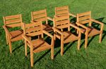 6Stk ECHT TEAK Design Gartenstuhl Stapelstuhl JAV-KINGSTON stapelbar sehr robust - Bild 8