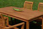 TEAK SET: Gartengarnitur Gartentisch 150x80 cm + 4 Alpen Sessel Holz JAV-ALPEN - Bild 3