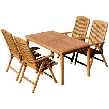 TEAK SET: Gartengarnitur Alpen Tisch 150x80 cm + 4 Tobago Sessel Serie JAV