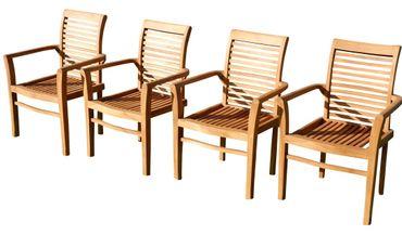4Stk ECHT TEAK Design Gartenstuhl Gartensessel 4erJAV-ALPEN sehr robust