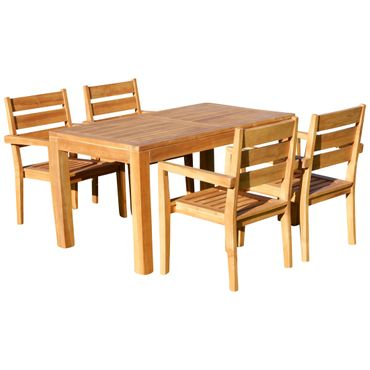 TEAK SET: Gartengarnitur Bigfoot Tisch 140x80 + 4 Kingston Sessel Serie JAV