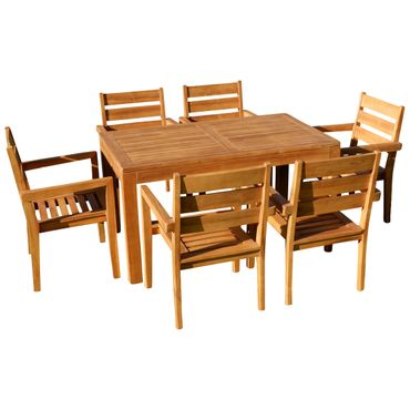 TEAK SET: Gartengarnitur Bigfuss Tisch 140x80 + 6 Kingston Sessel Serie JAV