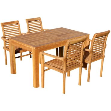 TEAK SET: Gartengarnitur Bigfoot Tisch 140x80 + 4 Alpen Sessel Serie JAV