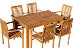 TEAK SET: Gartengarnitur Bigfuss Tisch 140x80 + 6 Alpen Sessel Serie JAV - Bild 1