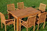 TEAK SET: Gartengarnitur Bigfuss Tisch 140x80 + 6 Alpen Sessel Serie JAV - Bild 5