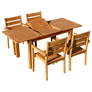 TEAK SET: Gartengarnitur Bigfuss Ausziehtisch 130-180x80 + 4 Kingston Sessel Holz JAV