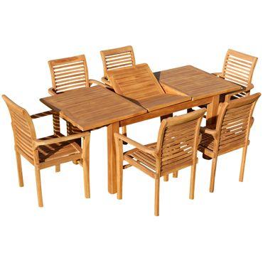 TEAK SET: Gartengarnitur Bigfuss Ausziehtisch 130-180x80 + 6 Alpen Sessel Holz Serie JAV