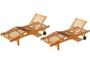 2x ECHT TEAK Sonnenliege Gartenliege Holzliege vielfach verstellbar mit Tischablage sehr robust Modell: 2xJAV-COZY