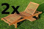 2x ECHT TEAK Sonnenliege Gartenliege Holzliege vielfach verstellbar mit Tischablage sehr robust Modell: 2xJAV-COZY - Bild 2
