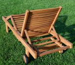 2x ECHT TEAK Sonnenliege Gartenliege Holzliege vielfach verstellbar mit Tischablage sehr robust Modell: 2xJAV-COZY - Bild 3