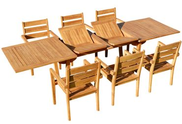 TEAK SET: Gartengarnitur Tobago Ausziehtisch 200/250/300cm x 100cm + 6 Kingston Sessel Serie JAV