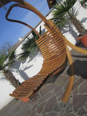 DESIGN Hängeliege NAVASSA-GRÜN mit Gestell aus Holz Lärche komplett mit Hängeliege und Dach – Bild 5