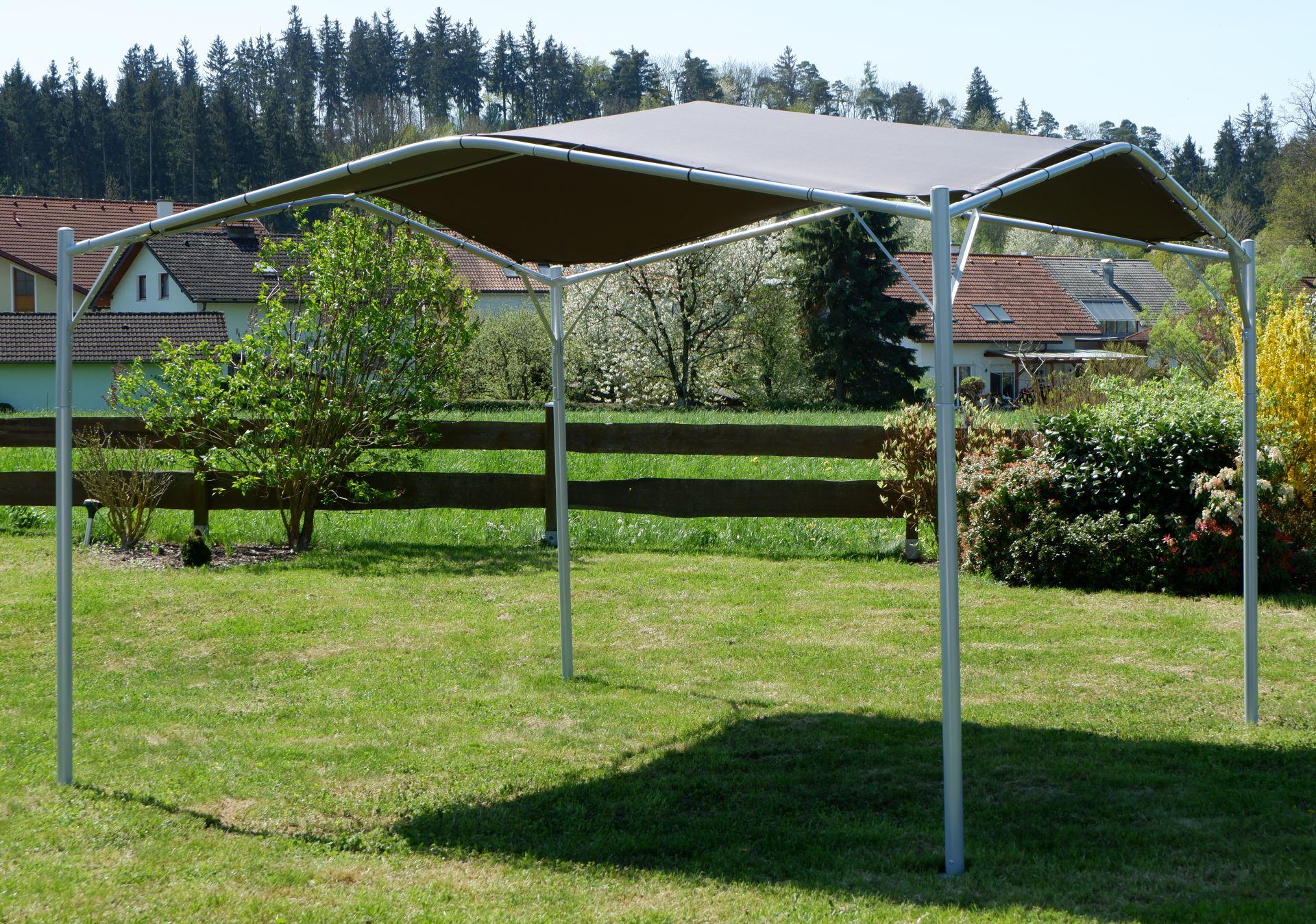 eleganter gartenpavillon pavillon sonnensegel 3 5x3 5m meter 12 25m dach aus polyester uv50. Black Bedroom Furniture Sets. Home Design Ideas