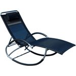 Liegestuhl Schwingstuhl Schaukelstuhl Schaukelliegestuhl mit atmungsaktiven Kunststoffgewebe Rückenlehne verstellbar + Kopfpolster KRETA-SCHWARZ - Bild 1