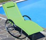 Liegestuhl Schwingstuhl Schaukelstuhl Schaukelliegestuhl mit atmungsaktiven Kunststoffgewebe Rückenlehne verstellbar + Kopfpolster KRETA-GRÜN - Bild 7