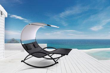 Doppel Schaukelliege Sonnenliege aus atmungsaktivem Kunststoffgewebe mit Kopfpolster und Dach ergonomisch geschwungen Modell: IOS – Bild 3