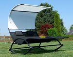 Doppel Schaukelliege Sonnenliege aus atmungsaktivem Kunststoffgewebe mit Kopfpolster und Dach ergonomisch geschwungen Modell: IOS - Bild 9