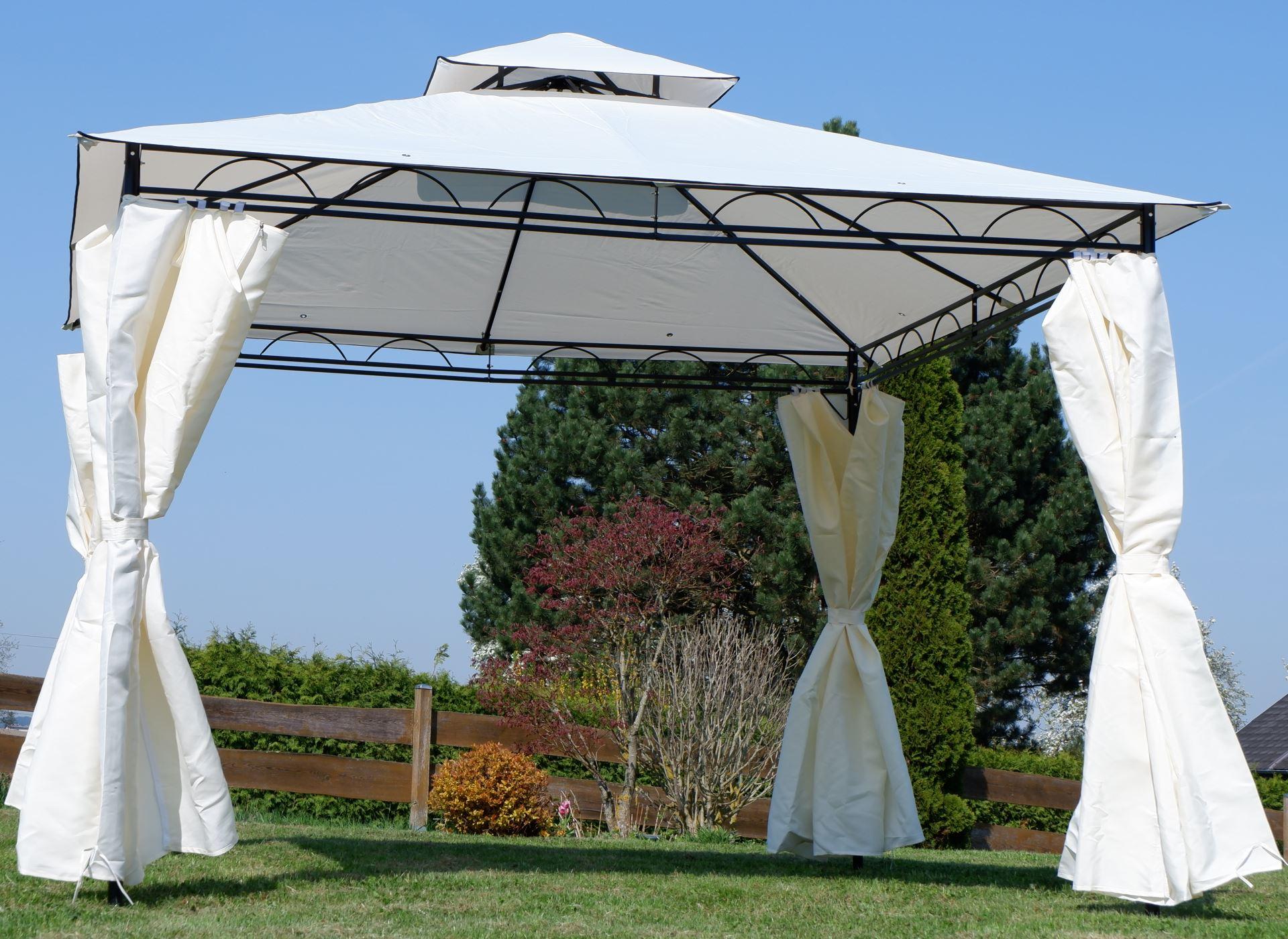 eleganter gartenpavillon pavillon 3x3 meter 9m dach 100 wasserdicht uv30 mit 4 vorh ngen. Black Bedroom Furniture Sets. Home Design Ideas