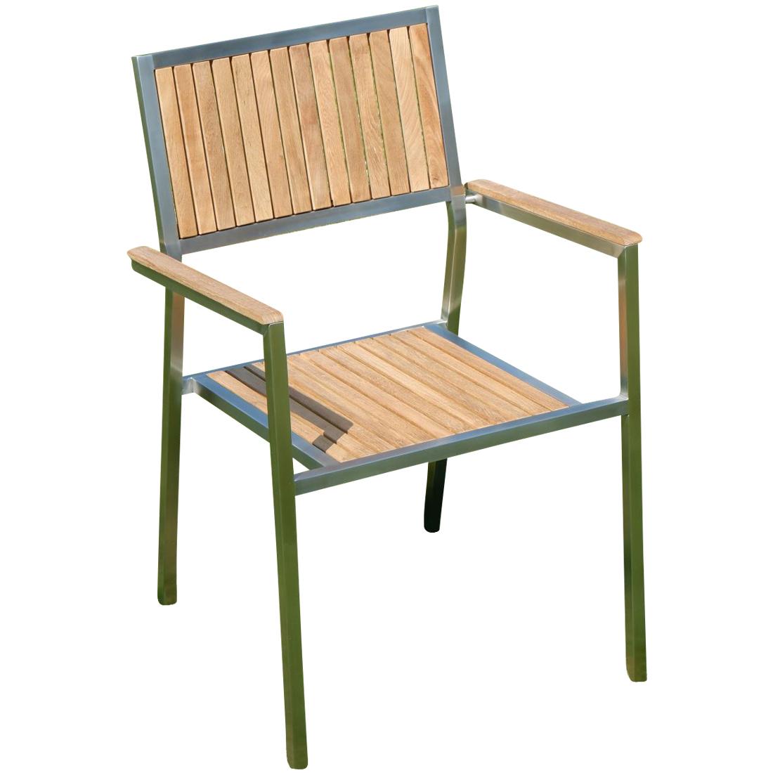 Sehr Designer Gartenstuhl mit Armlehne Gartensessel Stapelstuhl KUBA HG48