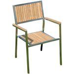 Designer Gartenstuhl mit Armlehne Gartensessel Stapelstuhl KUBA-TEAK Edelstahl Teak A-Grade stapelbar sehr robust