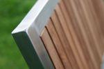 Designer Gartenstuhl mit Armlehne KUBA-TEAK Gartensessel Stapelstuhl Stapelsessel Sessel Edelstahl Teak A-Grade stapelbar sehr robust  - Bild 3