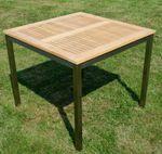 Edelstahl Teak Gartentisch 90x90 cm Holztisch Esstisch Tisch massive Ausführung A-Grade Teakholz KUBA  - Bild 6